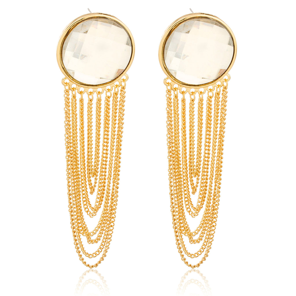 Goldtone 'Crystal Clear' 4 Inch Dangling...