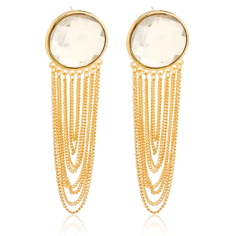 Goldtone 'Crystal Clear' 4 Inch Dangling Cuban Drop Earrings