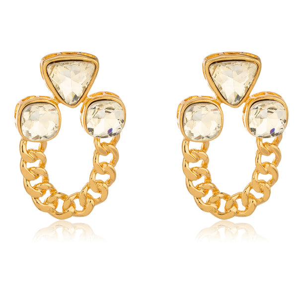 Goldtone 'Crystal Clear' Cuban Geometric Design Earrings