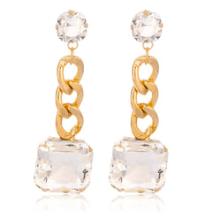 Goldtone 'Crystal Clear' Squared 3 Inch Cuban Design Drop Earrings