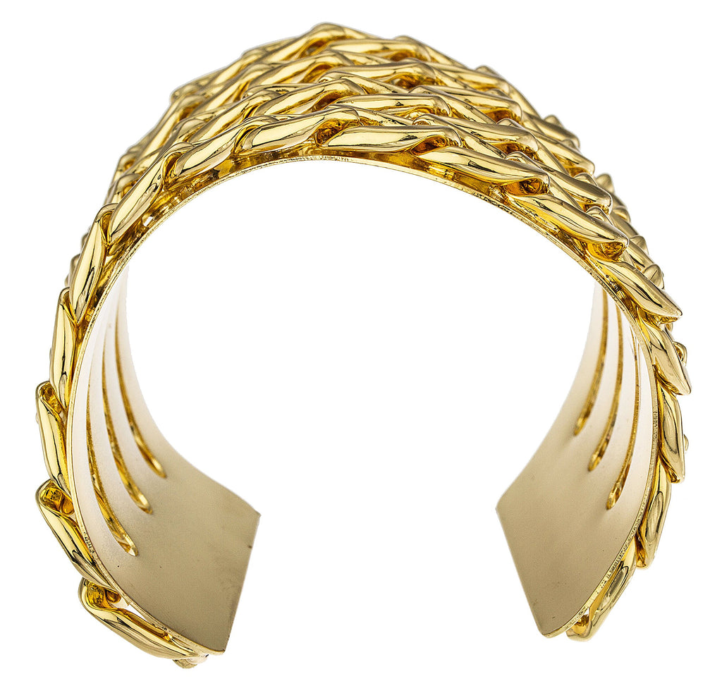 Goldtone Cuban Chain Adjustable Bangle Cuff...