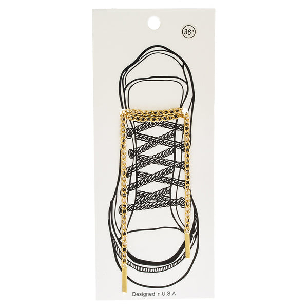 Goldtone Cuban Link Shoe Lace Chain Set