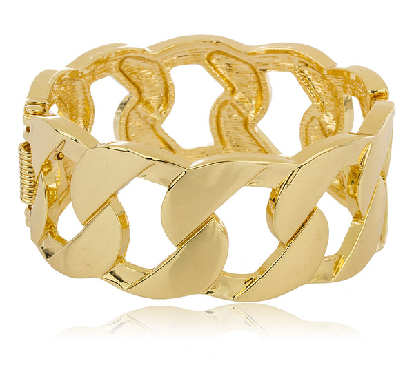Goldtone Cuban Linked Design Hinged Bangle Bracelet