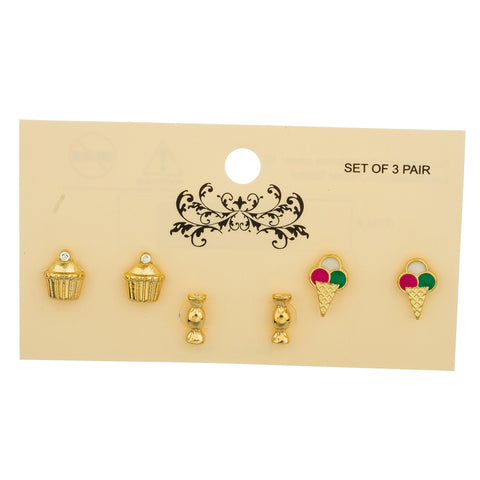 Goldtone Cupacke, Candy And Ice Cream Themed Three Pair Stud Earrings Set