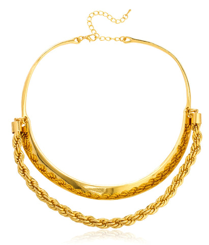 Goldtone Curve Bar And Rope Chain Choker