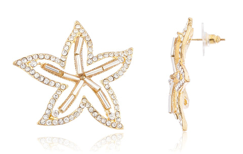 Goldtone Cut Out Starfish Earrings With Clear Stones