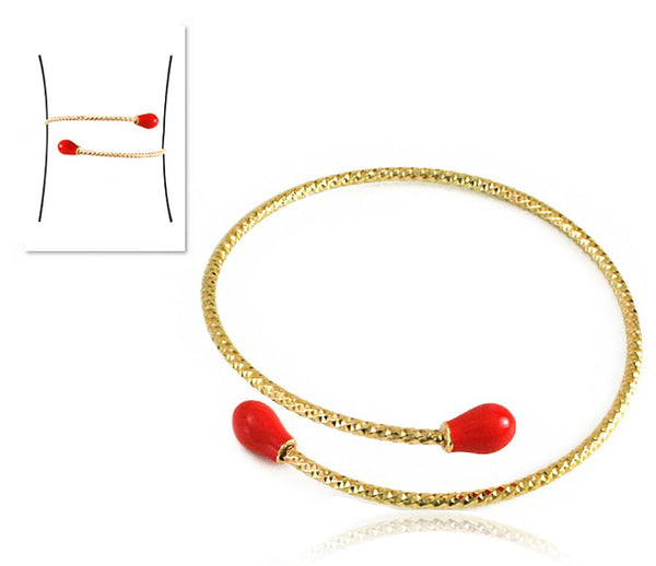 Goldtone D-Cut Adjustable Arm Cuff With Colored Ends (Assorted Colors)