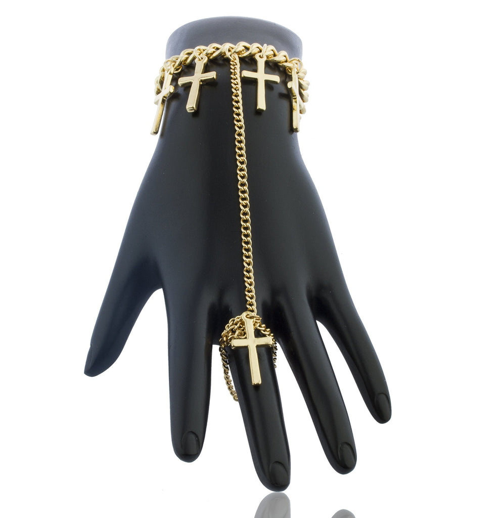 Goldtone Dangling Cross Adjustable Finger Ring...