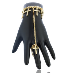 Goldtone Dangling Cross Adjustable Finger Ring And Hand Chain Bracelet