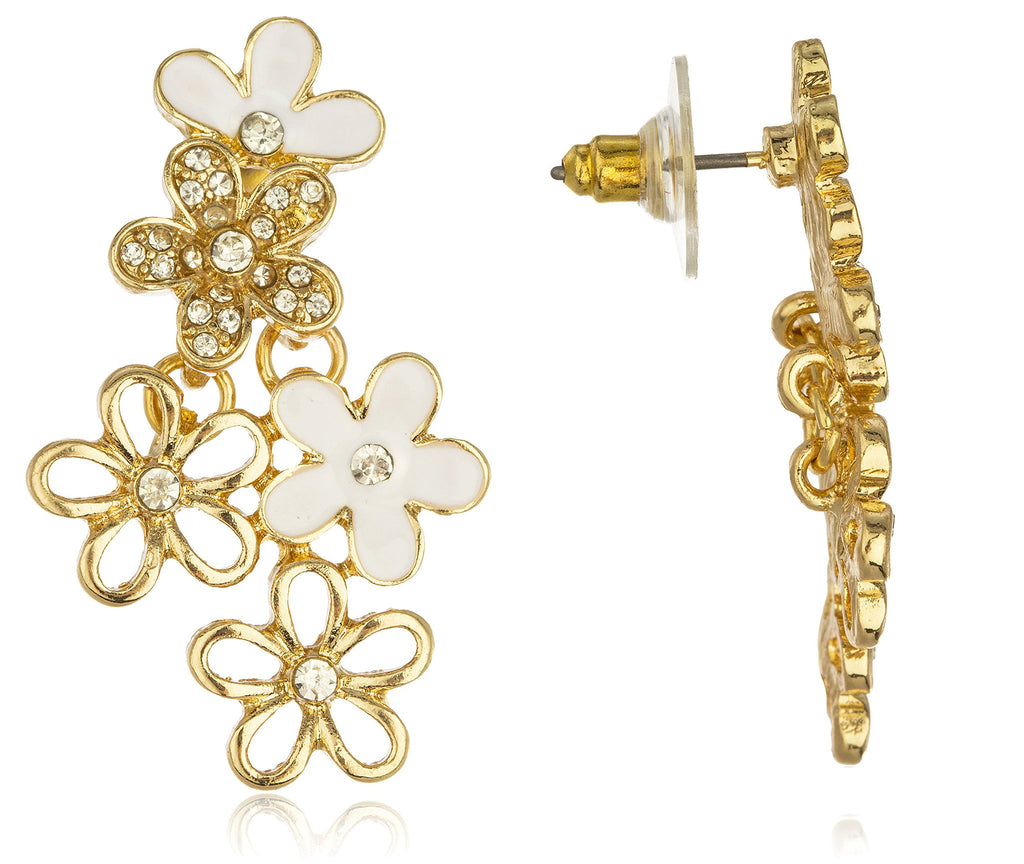 Goldtone Dangling Flower Cluster Stud Earrings...