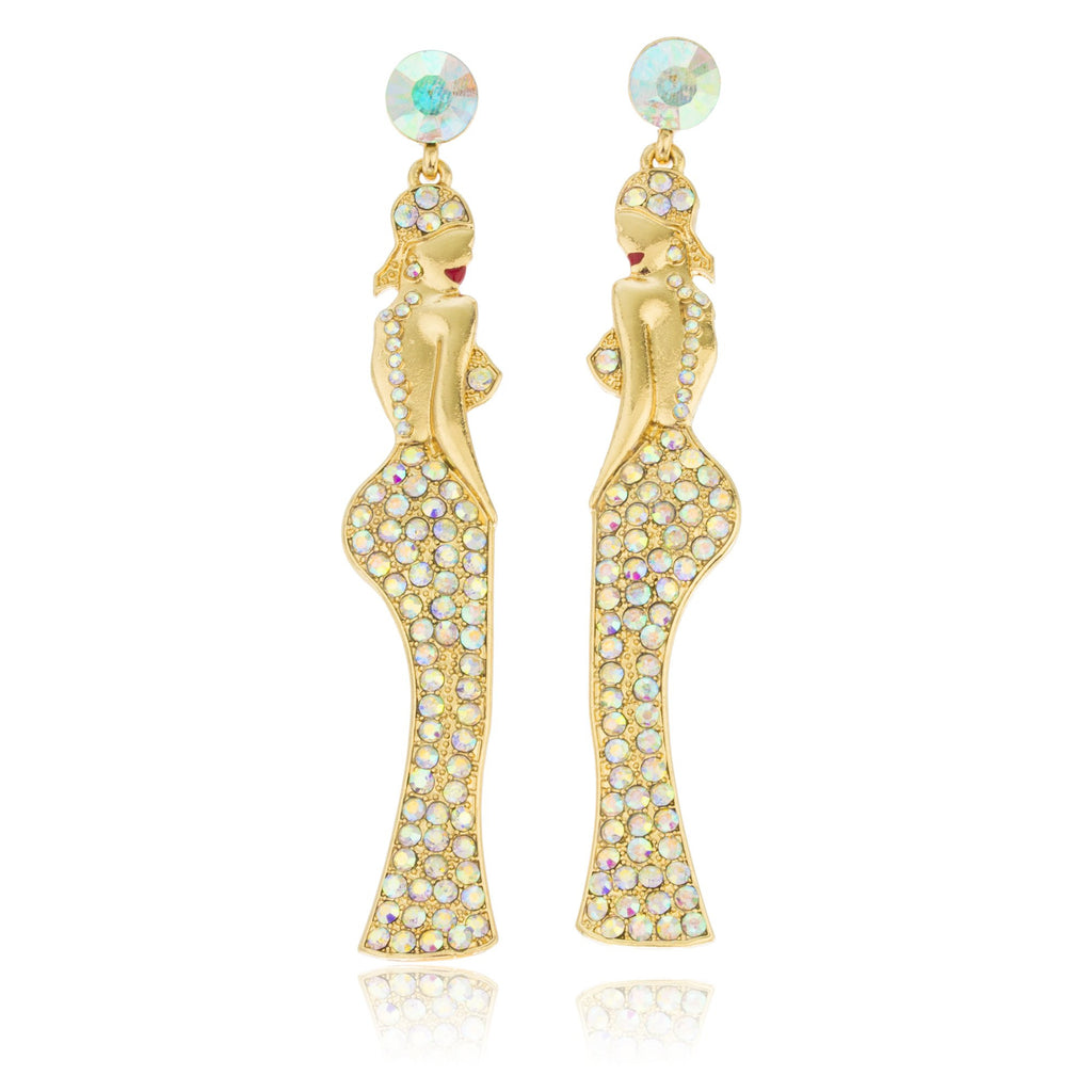 Goldtone Dangling Women Posing With Clear...