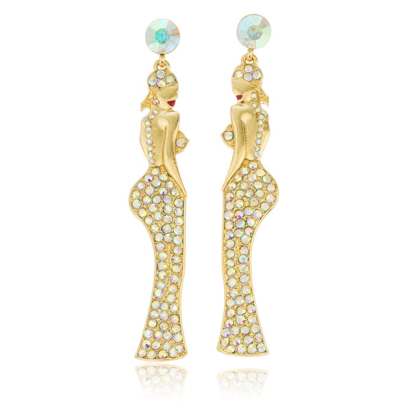 Goldtone Dangling Women Posing With Clear Stones Dangle Earrings
