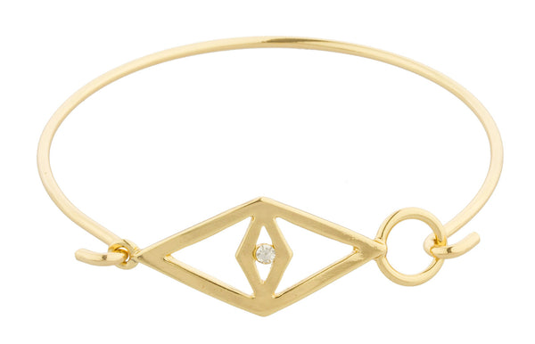 Goldtone Diamond Shaped Eye With Clear Stone Bangle