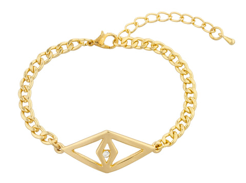 Goldtone Diamond Shaped Eye With Clear Stone Bracelet