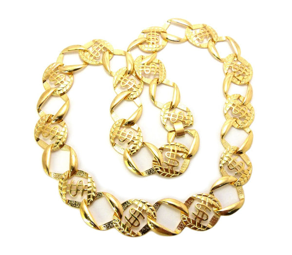 Goldtone Dollar Sign 30 Inch Link Chain