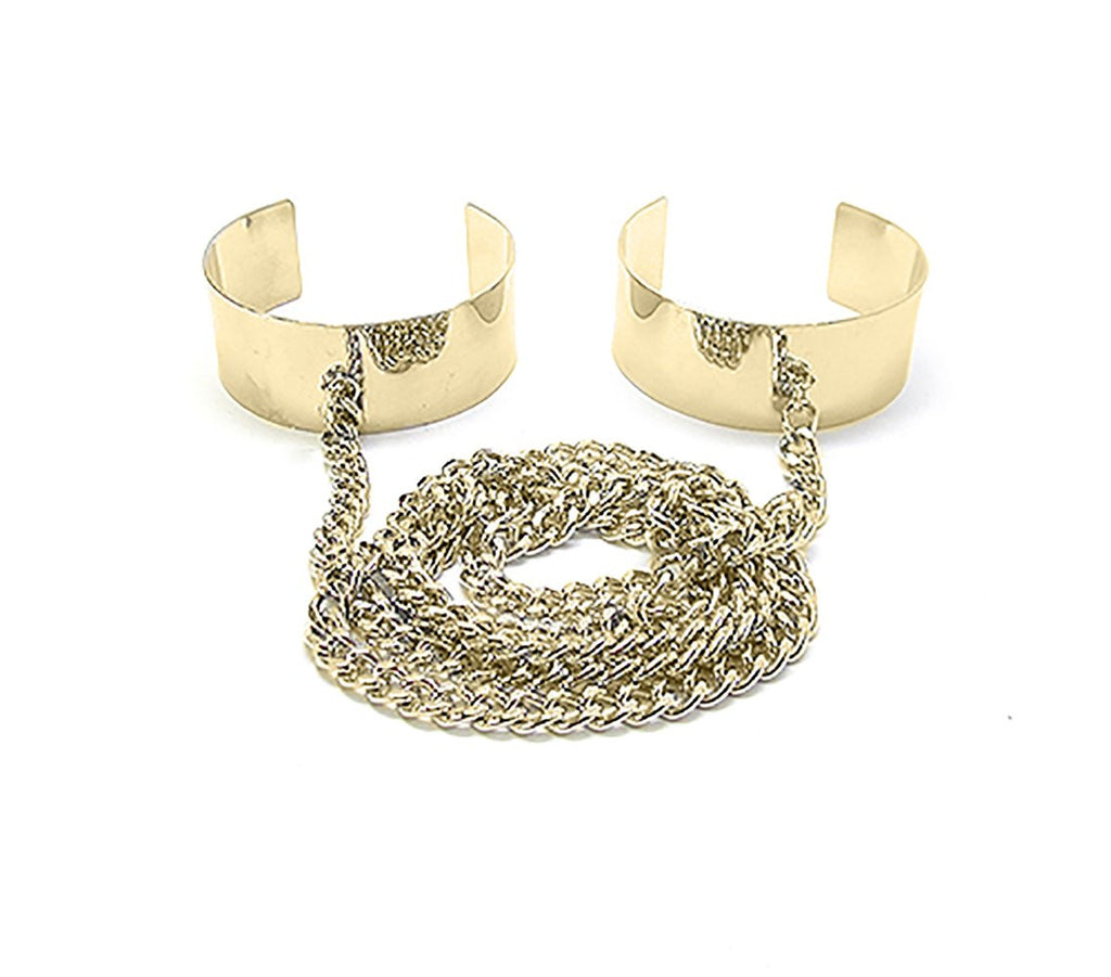 Goldtone Double Cuff Bangle Wrap Around...
