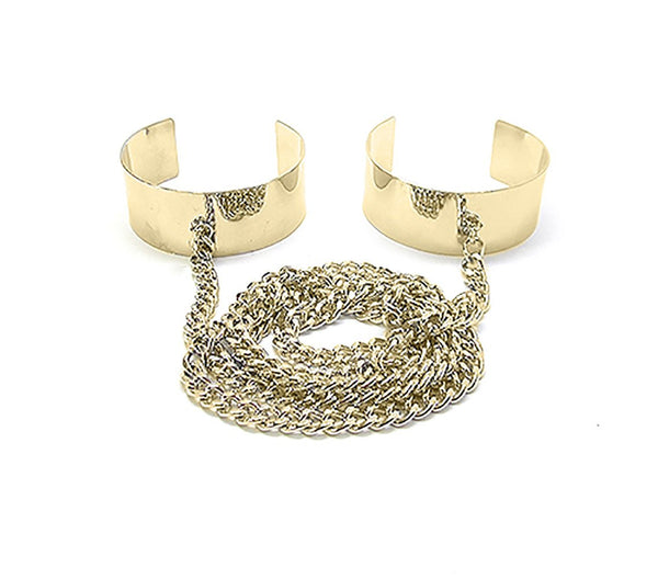 Goldtone Double Cuff Bangle Wrap Around Chain Bracelet