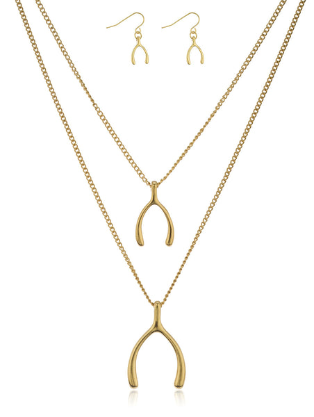 Goldtone Double Layer Wishbone Pendant Necklace And Matching Earrings Jewelry Set