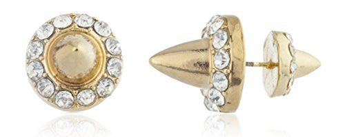 Goldtone Double Sided Iced Out Spike Studs
