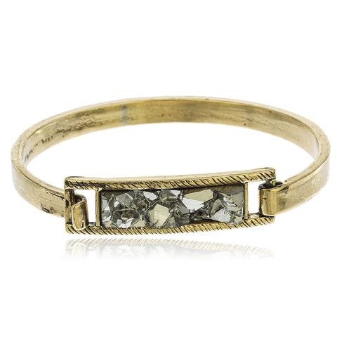 Goldtone Druzy Grey Rock Bar With Hook Closure 2.5 Inch Latch Bangle Bracelet