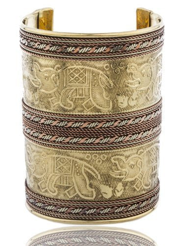 Goldtone Egyptian Elephant Design 3.5 Inch Adjustable Antique Cuff Bangle