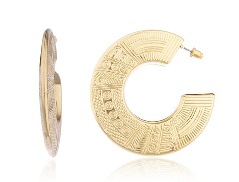 Goldtone Egyptian Textured Circle Earrings
