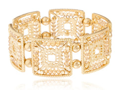 Goldtone Elegant Square Shape Metal Beaded Stretch Bracelet (Goldtone W/ Amber)
