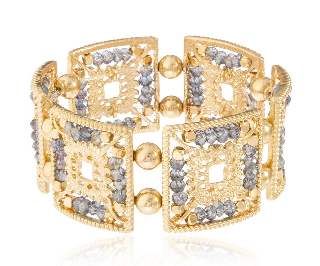 Goldtone Elegant Square Shape Metal Beaded...