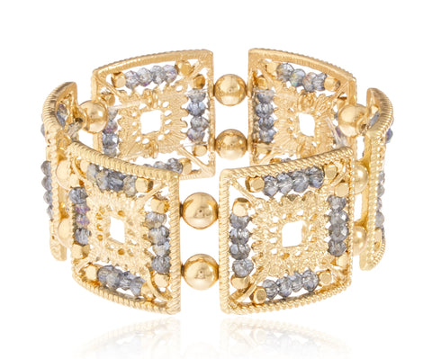 Goldtone Elegant Square Shape Metal Beaded Stretch Bracelet (Goldtone W/ Blue)