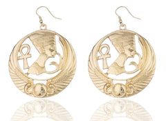 Goldtone Embedded Nefertiti, Ankh Cross And Wings Design Dangle Earrings