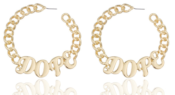 Goldtone Embedded Script Dope Cuban Linked 3.75 Inch Open Ended Hoop Earrings