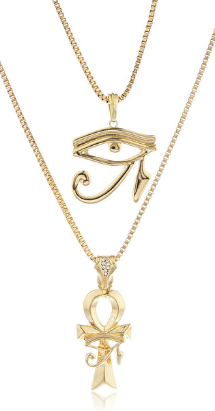 Goldtone Eye Of Horus And Ankh Micro Pendant Layered 24-30 Inch Box Chain Set