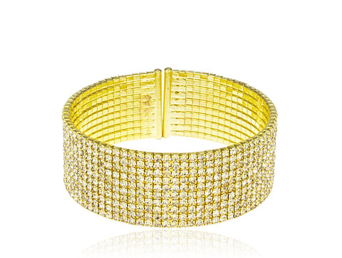 Goldtone Fancy Bridal Diamond Flex Cuff Bracelet (10 Row)