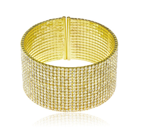 Goldtone Fancy Bridal Diamond Flex Cuff Bracelet (15 Row)