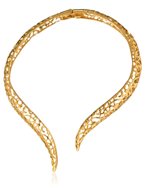 Goldtone Filigree Curved Bar Design Adjustable Neck Choker Necklace