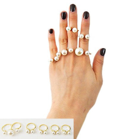 Goldtone Five Piece Multiple Simulated Pearl Style Midi Finger Ring Set