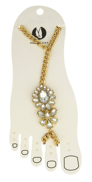 Goldtone Floral Clear Stones Adjustable Anklet Foot Bracelet