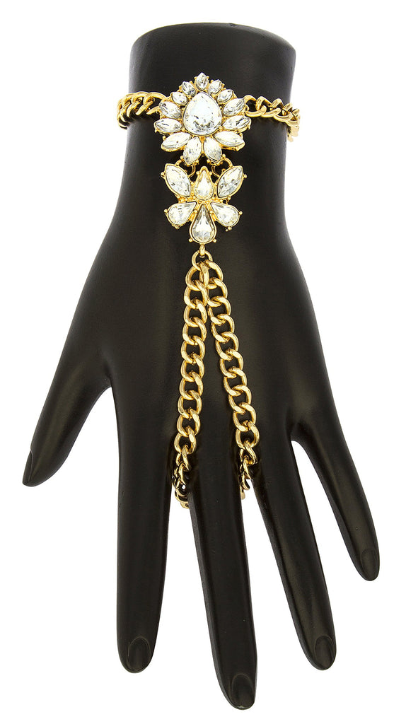 Goldtone Floral Teardrop Adjustable Finger Ring...