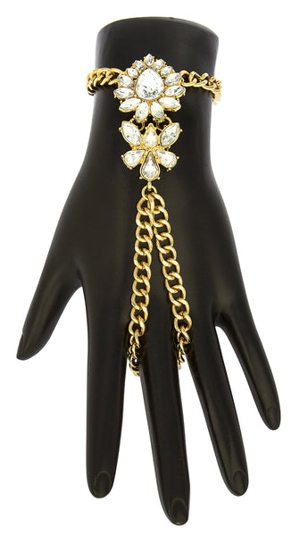 Goldtone Floral Teardrop Adjustable Finger Ring Hand Chain