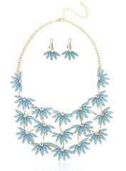 Goldtone Flowers With Clear Stones And Matching Earrings Jewelry Set- Available In Blue And White (Blue)