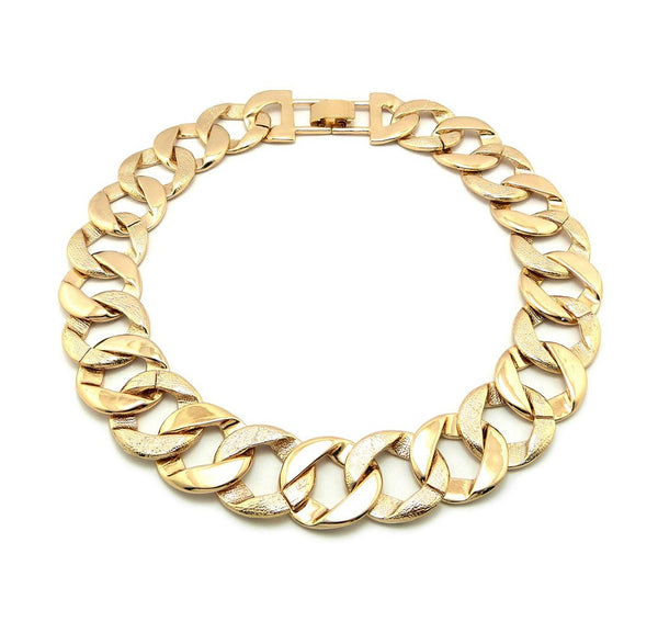 Goldtone Frosted Two Tone 25mm 18 Inch Link Design Chain