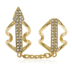 Goldtone Full Finger Arrow With Clear Stones Midi Finger Ring