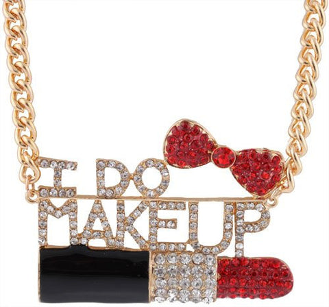 Goldtone Fully Iced Out I Do Makeup Red Lipstick And Bow Pendant With An 18 Inch Adjustable Link Necklace