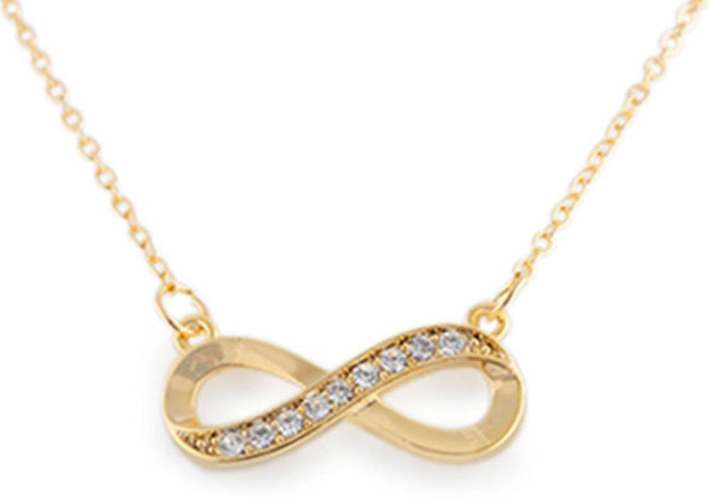 Goldtone Half Iced Out Infinity Pendant...