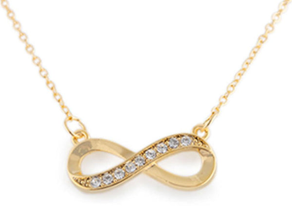 Goldtone Half Iced Out Infinity Pendant With An 18 Inch Necklace