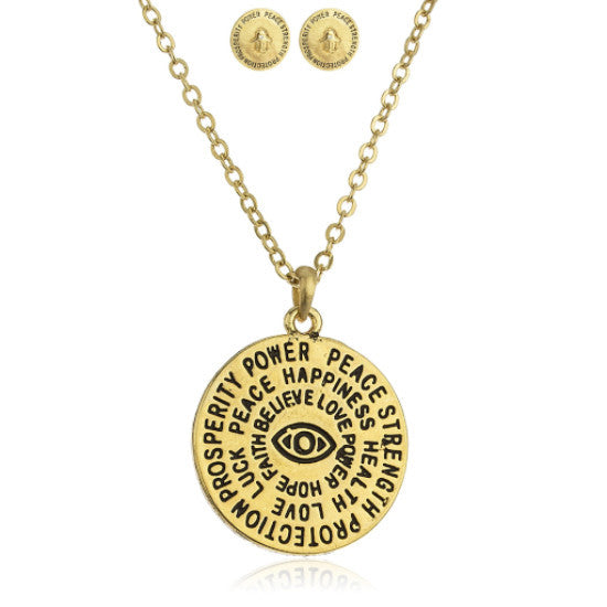 Goldtone Hamsa And Eye Circle Pendant...