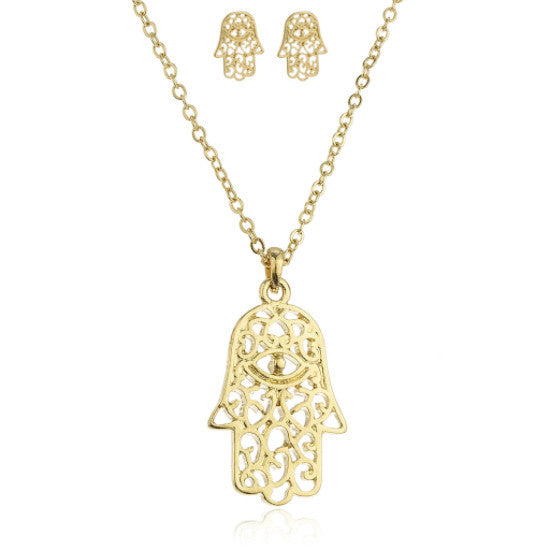 Goldtone Hamsa With Eye Pendant 18 Inch Link Necklace With Matching Earrings Jewelry Set