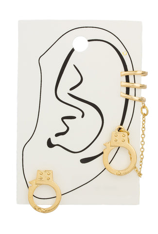 Goldtone Handcuff Ear Cuff And Ear Lobe Earrings With Link Chain