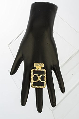 Goldtone Handcuff Perfume Bottle Stretch Ring