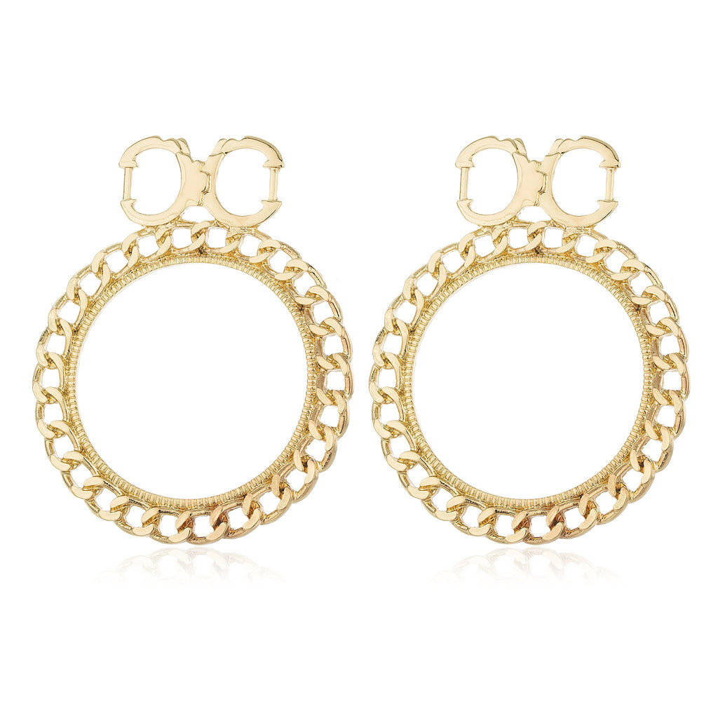 Goldtone Handcuff Studs With Cuban Chain...